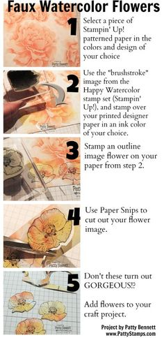 How To Make Faux Watercolor Flowers - fun stamping technique that is SO EASY you will be amazed! Happy Watercolor stamp set from Stampin Up. Technique by Patty Bennett, www.PattyStamps.com