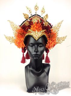 MADE TO ORDER  This headdress can be made in ANY COLOR SCHEME you choose. Princess headdress made with gold jewelry from Thailand, flowers and a
