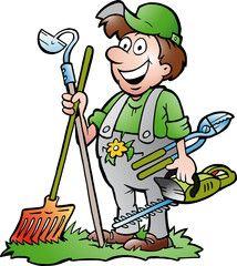 A happy Gardener standing with his garden tool Cartoon garden Clip art Cartoon