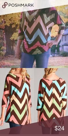Chevron Multicolor Top Cute multicolored chevron patterned dolman top with 3/4 sleeves. Comfy and flattering fit. Brand new with tags. From a smoke-free, pet-free home. Free gift with purchase! Tops Blouses