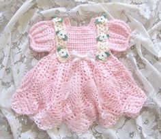 "Crochet Pattern for ""Baileigh"" Baby Dress by REBECCA LEIGH -  6 months to 12 mos #RebeccaLeigh"