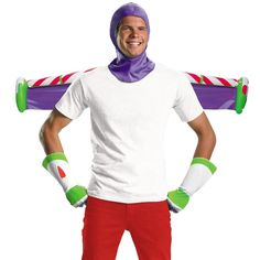 You will look like a studly space ranger in our Toy Story Buzz Lightyear Kit! Officially licensed Toy Story Buzz Lightyear Kit for adults features a purple hood, white gloves and an inflatable jet pack. Toy Story Halloween Costume, Toy Story Costumes, Easy Costumes, Disney Costumes, Halloween Costumes For Kids, Adult Costumes, Mickey Halloween, Costumes Kids, Halloween Dress