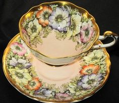 Paragon Yellow Orange Anemone Peach Pink Gold Wide Tea Cup and Saucer... *~<3*Jo*<3~*