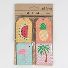 Tropical summer gift tags (set of 12) flamingo/ pineapple/ watermelon/ palm tree