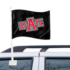 Arkansas State Red Wolves Logo Car Flag - Black
