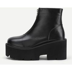 SheIn(sheinside) Zipper Front Platform PU Ankle Boots (€34) ❤ liked on Polyvore featuring shoes, boots, ankle booties, black, platform ankle boots, ankle boots, chunky black boots, chunky platform boots and platform bootie