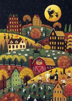Here is one of my original paintings of Halloween night in a very hilly place. There are saltbox houses, a red barn, and plenty of Halloween characters cavorting about, choosing pumpkins to carve a… Retro Halloween, Halloween Chat Noir, Halloween Prints, Halloween Painting, Halloween Pictures, Halloween Cards, Holidays Halloween, Happy Halloween, Halloween Decorations