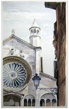 watercolor,by Giorgio Casoni_paintings_city-art__urban_акварель_город