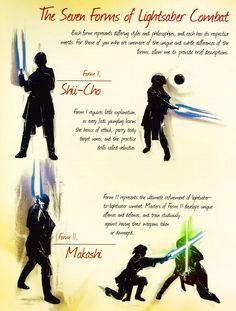 """gffa: """"The Seven Forms of Lightsaber Combat """" Star Wars Rpg, Star Wars Fan Art, Star Wars Clone Wars, Star Wars Humor, Lightsaber Forms, Star Wars Facts, Star Wars Light Saber, Star Wars Images, Star Wars Collection"""