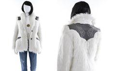 Vintage 1970s Faux Fur Jacket White Fuzzy by FiregypsyVintage