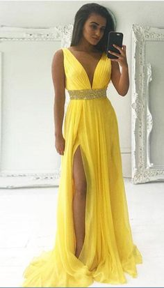 V Neck Yellow Prom Dress with Slit #prom #promdress #dress #eveningdress #evening #fashion #love #shopping #art #dress #women #mermaid #SEXY #SexyGirl #PromDresses