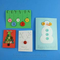 Homemade Button Christmas Cards by Amanda Formaro, Crafts by Amanda. Next year's Christmas cards? Button Christmas Cards, Button Cards, Homemade Christmas Cards, Christmas Cards To Make, Christmas Crafts For Kids, Christmas Activities, Handmade Christmas, Homemade Cards, Holiday Crafts