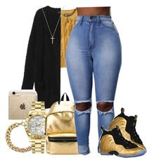 """""""« the golden days »"""" by trap-ical ❤ liked on Polyvore featuring Versace, Monki, Rifle Paper Co, Michael Kors, Rolex, Yves Saint Laurent, NIKE and Gucci"""