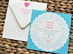 Doily Suite Save the Date - Natural Ivory, Aqua Blue, Taupe and Pink - Sample. $1.99, via Etsy.