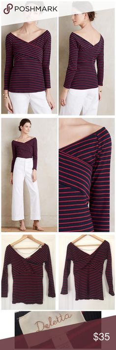 Anthropologie Deletta Striped Off-The-Shoulder Tee Anthropologie Deletta Striped Off-The-Shoulder Tee. Size Small. Excellent used condition. Worn twice and freshly laundered. No flaws; in excellent condition.  Details:  Cotton-polyester knit Pullover styling Machine wash Imported Style No. 4112339185942 Anthropologie Tops Tees - Long Sleeve