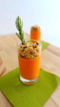 Panna cotta au poivron et crumble d'olives Plus