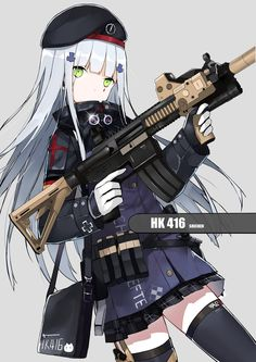 1girl assault_rifle bangs blunt_bangs green_eyes gun heckler_&_koch highres hk416 long_hair looking_at_viewer military military_uniform original rifle shi-chen silver_hair solo trigger_discipline tsurime uniform weapon