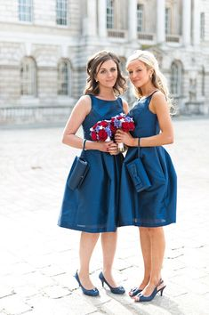 A Red, White And Blue 1950s Inspired Wedding:: Rockabilly Style:: Rockabilly Wedding:: Retro Bridesmaids dresses