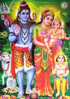 Lord Shiva And Family (Parvati, Lord Ganesha/Vinayaga and Lord Kartikeya/Muruga) Shiva Parvati Images, Shiva Shakti, Krishna Images, Bhagwan Ram Photo, Ram Bhagwan, Ram Sita Image, Shree Ram Photos, Photos Of Lord Shiva, Rama Lord