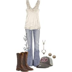 """Junk Gypsy"" by rodeo-chic on Polyvore; Boots @sheplers"