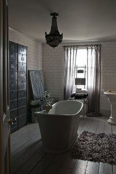 Downstairs Bath redo: Oversized curtain rings Alex MacArthur {baroque vintage eclectic industrial modern gray and white bathroom} House Design, Gray And White Bathroom, Interior, Beautiful Bathtubs, House Interior, White Bathroom, Eclectic Industrial, Beautiful Bathrooms, Grey Bathrooms