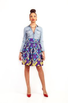 Full High-Waist African Print Skirt with Pockets