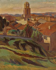 """View of St Tropez"" Artist:  Duncan Grant circa 1921  Duncan James Corrowr Grant was a British painter and designer of textiles, pottery, theatre sets and costumes. He was a member of the Bloomsbury Group. His father was Bartle Grant, a ""poverty-stricken"" major in the army, and much of his early childhood was spent in India and Burma  Fine Giclee Print This print delivers a vivid image with maximum color accuracy and exceptional resolution. The standard for museums and galleries around the… Art Prints For Sale, Fine Art Prints, Duncan Grant, Duncan James, Vanessa Bell, Bloomsbury Group, Animal Art Prints, South Of France, Knitting"