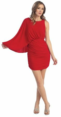 Knee Length Sexy Red Cocktail Dress Chiffon One Shoulder Ruched ...