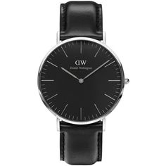 Daniel Wellington Crystal, Stainless Steel Leather Strap Watch (£185) ❤ liked on Polyvore featuring jewelry, watches, black, bezel jewelry, quartz movement watches, black face watches, crystal jewelry and crystal jewellery
