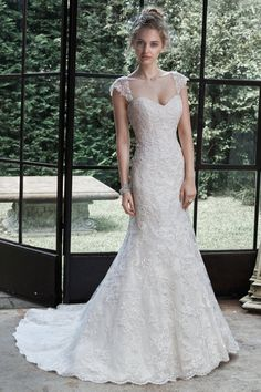 Style Marigold by Maggie+Sottero Fit & Flare lace sweetheart neck