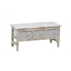 Banc pour 3 tiroirs en manguier vieilli, 93 x 36 x H45 cm. Tiroirs vendus séparément.  Tiroirs petit modèle 32 x 23 x H14 cm conseillés
