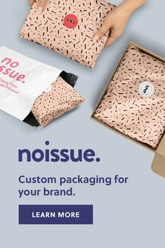 Custom tissue paper, stickers, and mailers—the custom packaging solution for your brand. Use the simple logo uploader to see what your packaging could look like.