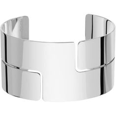 dinh van Seventies Cuff (Sterling Silver) (9.885 NOK) ❤ liked on Polyvore featuring jewelry, bracelets, браслеты, sterling silver cuff bangle, cuff bangle, sterling silver jewelry, polish jewelry and sterling silver bangles