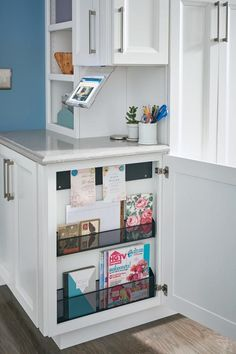 Magazines, stationary and more find their home in the Base Message Center. Kitchen Redo, Kitchen Remodel, Kitchen Design, Kitchen Ideas, Kitchen Organization, Kitchen Storage, Organized Kitchen, Thomasville Cabinetry, Cookbook Storage