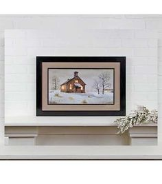 Radiance Lighted Matted Framed Snow Day Canvas