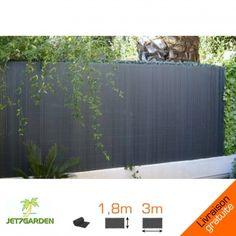 Canisse PVC GRIS ANTHRACITE-  double face-  1 rouleau de 3 m, hauteur 1,80m