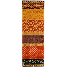@Overstock - Update your home decor with a lovely wool rugArea rug is hand-tufted using a 100-percent wool pileContemporary rug displays stunning tones of rust, gold, black and light bluehttp://www.overstock.com/Home-Garden/Handmade-Rodeo-Drive-Collage-Rust-Gold-N.Z.-Wool-Runner-26-x-8/3994274/product.html?CID=214117 $99.99