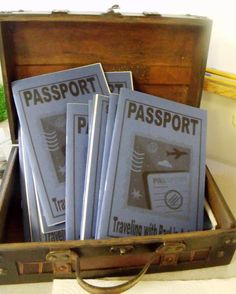 Bible passports.... Print out all books of Bible and have them write in as we learn the story in the Bible