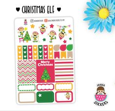 Christmas Elf Planner Stickers, Merry Christmas Stickers, perfect for Planners, Erin Condren, Plum Paper, Happy Planner, Filofax, Kikki.k... by SandiaStickers on Etsy