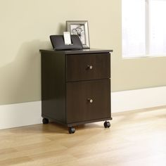 Cinnamon Cherry Finish 2-Drawer Mobile File Cart Filing Cabinet