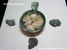 This grid which contains Moss Agate, Citrine and Emerald is for prosperity. Focus on your intention for attracting prosperity into your life for the highest good of all.  www.healingcrystals.com/advanced_search_result.php?dropdown=Search+Products...&keywords=moss+agate  www.healingcrystals.com/advanced_search_result.php?dropdown=Search+Products...&keywords=citrine  www.healingcrystals.com/advanced_search_result.php?dropdown=Search+Products...&keywords=emerald  Code HCPIN10 = 10% discount