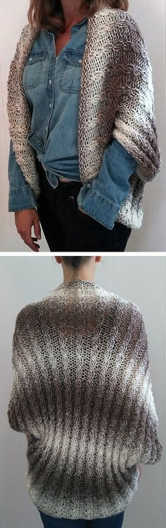 Free Knitting Pattern for Island Wrap - This cocoon cardigan features all over cables is knit as a rectangle and then seamed to form the armholes. Sizes S/M, L/XL. Quick knit in bulky yarn. Rated easy by the designer Bo Peep's Bonnets