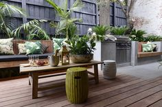 Tropical outdoor BBQ area l The Block Triple Threat l Outdoor Terrace