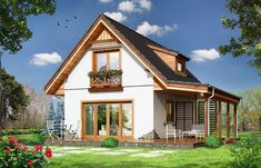 Projekt domu Szarejka – 63.63 m2 - koszt budowy 65 tys. zł House Elevation, Cabin Homes, Home Fashion, House In The Woods, Olive Green, Tiny House, Exterior, House Design, Mansions