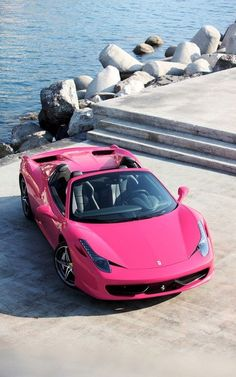Ferrari 458 Pink ☆ Girly Cars for Female Drivers! Love Pink Cars ♥ It's the … Ferrari 458 Pink ☆ Girly Cars for Female Drivers! Ferrari 458, Logo Ferrari, Ferrari Black, Pink Ferrari, Huracan Lamborghini, Pink Lamborghini, Lamborghini Diablo, Maserati, Exotic Cars