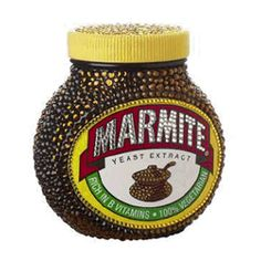 Wow!!  Marmite all dressed up for a fancy night out!!!!   A Swarovski crystal embossed Marmite Jar!