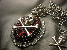 Skull Necklace - Ruby Crystals by LEBEAUTYEXORCIST