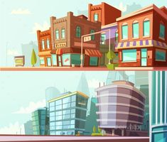 City Skyline 2 Horizontal Banners Set