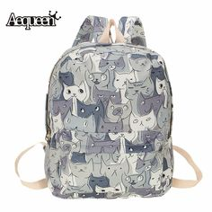 d32599d16e Backpacks AEQUEEN Cute Cat Canvas Backpack Women Rucksack College Preppy School  bags for Teenagers Girls Large Capacity printing backpack   This is an ...