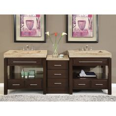 Silkroad Exclusive Travertine Countertop Double Stone Sink Bathroom Vanity - Free Shipping Today - Overstock.com - 13708363 - Mobile
